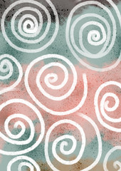 Pattern in pastel colors with spirals, blue, pink