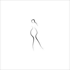 woman vector line illustration icon