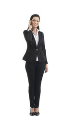 Portrait of businesswoman talking on a mobile phone