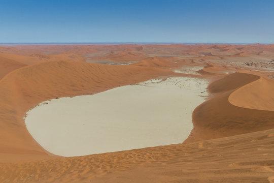 Deadvlei salt pan from above from a dune in the Namibian Namib dessert