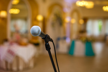 black metal microphone and banquet hall