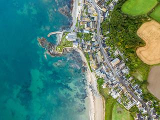 Aerial view of Cornwall seaside