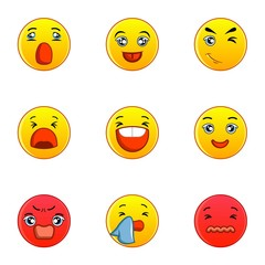 Different type of emotion icons set, flat style