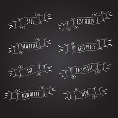 Vector Collection of Chalkboard Style Ribbons for promotion.