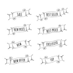 Set of hand drawn banners for promotion.  Vector illustration