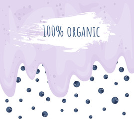100 percent organic. Blueberry smoothie yogurt detox concept. Vector background. Hand drawn illustration.