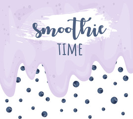 Smoothie time. Blueberry yogurt detox concept. Vector background. Hand drawn illustration.