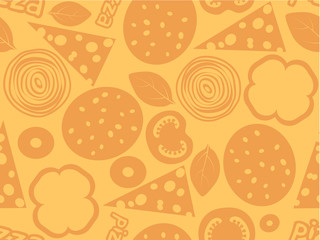 Pizza ingredients simple seamless pattern. Orange color background with salami, cheese, mushroom, olive, basil, tomato, paprika. Web page fill or wrapping paper backdrop