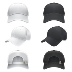 Vector realistic illustration of a white and black textile baseball cap front, back and side view, isolated on white. Print, template, moc up, design element