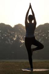 Young woman doing yoga practice