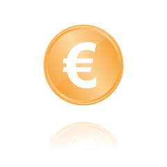 Euro Symbol Bronze Münze mit Reflektion