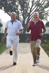 Old men jogging in a park