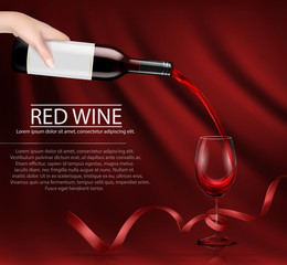 Vector illustration, bright realistic poster with a hand holding a glass wine bottle and pouring red wine into a glass. Template, moc up, layout for advertising, design, branding