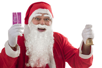 Portrait of cheerful Santa Claus showing gift voucher card with bell in other hand