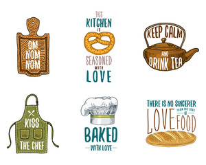 Apron and saucepan, bagel and wooden board with hood, pan and kettle. Baking or dirty kitchen utensils, cooking stuff. logo emblem or label, engraved hand drawn in old sketch and vintage style.