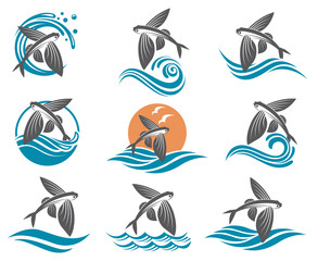 collection of flying fish images with waves