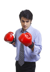 Executive wearing boxing gloves