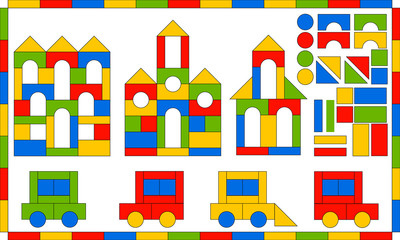 Children s Designer. Multicolored building kit. Developing game for children. Buildings and vehicles from simple blocks. Flat bright set of parts and finished products.