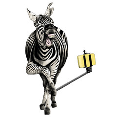 Zebra full height smiling taking a selfie with a monopod for phone sketch vector graphics color picture