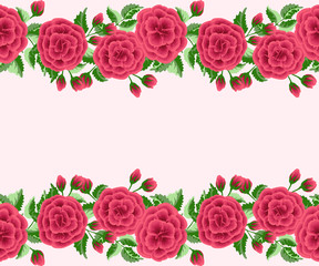 Seamless border in small cute flowers of antique roses and branches. Chabby chic millefleurs. Floral background for textile, wallpaper, pattern fills, covers, surface, print, gift wrap, scrapbooking,