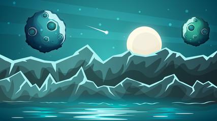 Night planet, sea landscape Vector eps 10