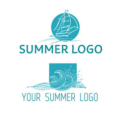 Vector illustration. Vintage hand drawn emblem of Summer rest club with waves, ship and sun.