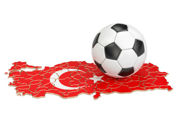 Football ball with map of Turkey concept, 3D rendering