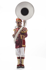 Bandmaster playing a sousaphone
