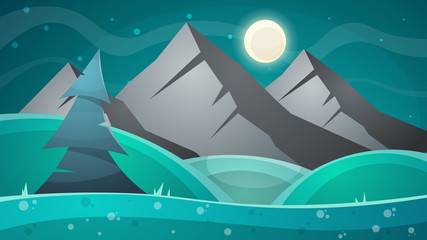 Cartoon night landscape. Comet, moon, mountains fir illustration Vector eps 10
