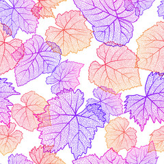 Vector seamless pattern with hand drawn grape textured leaves on white background. Autumn nature illustration. Design for wine list, winery, label, package, wrapping paper or textile print.
