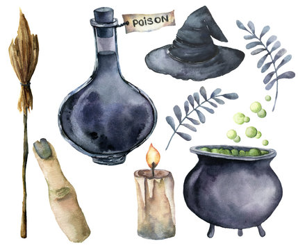 Watercolor helloween magic set. Hand painted bottle of poison, cauldron with potion, broom, candle, finger, witch hat and floral branch isolated on white background. Holiday illustration for design.