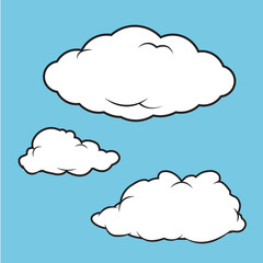 Cartoon vector illustration of a puffy clouds collection