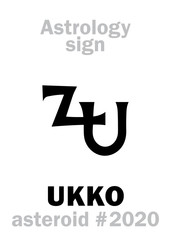 Astrology Alphabet: UKKO, asteroid #2020. Hieroglyphics character sign (single symbol).
