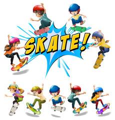 Many kids playing skate