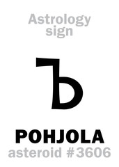 Astrology Alphabet: POHJOLA, asteroid #3606. Hieroglyphics character sign (single symbol).