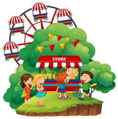 Happy children having popsicles