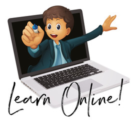 Word phrase for learn online with teacher in laptop