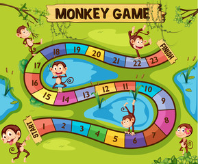 Boardgame template with monkeys in jungle