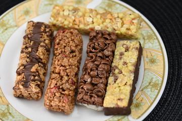 Chocolate energy bar with caramel
