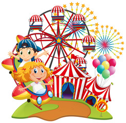 Circus scene with kids on the ride