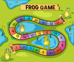 Boardgame template with frogs in pond