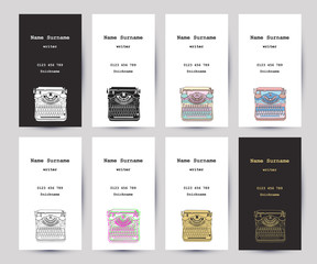 Set of business cards with hand drawn vintage typewriter