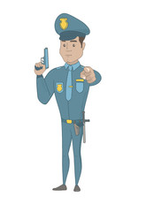 Hispanic policeman holding handgun ready for use and pointing finger at you. Full length of young serious policeman posing with handgun. Vector sketch cartoon illustration isolated on white background