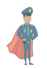 Hispanic policeman wearing red superhero cloak. Young policeman dressed as superhero. Powerful policeman superhero in red cloak. Vector sketch cartoon illustration isolated on white background.