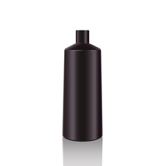 Cosmetic Bottles. Realistic Black Bottle For Essential Oil And Tube Or Container For Cream, Ointment, Lotion. Mock Upset. Cosmetic Vial, Flask, Dropper-Bottle, Shampoo. Vector Illustration.
