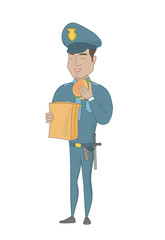 Cheerful hispanic police officer eating hamburger. Full length of young smiling police officer with a hamburger in hand. Vector sketch cartoon illustration isolated on white background.