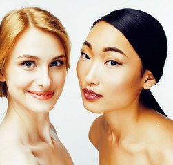 different nation woman: asian, african-american, caucasian together isolated on white background happy smiling, diverse type on skin, lifestyle people concept