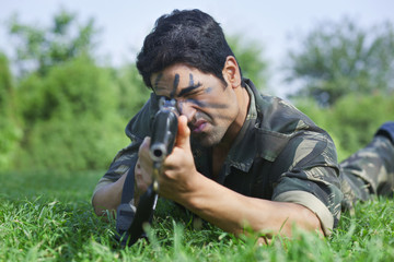 Soldier targeting with rifle