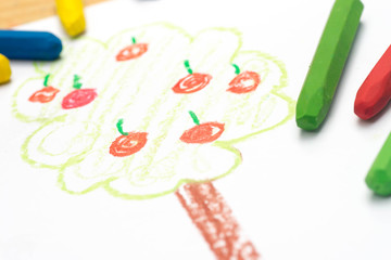 child drawing, apple tree  , selective focus