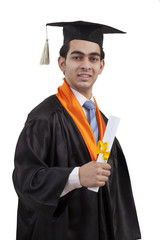 Portrait of a boy at graduation ceremony